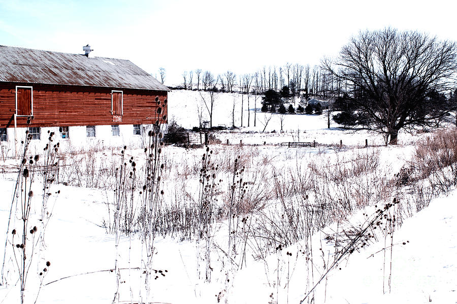 Red Barn In Winter Photograph by Gemblue Photography