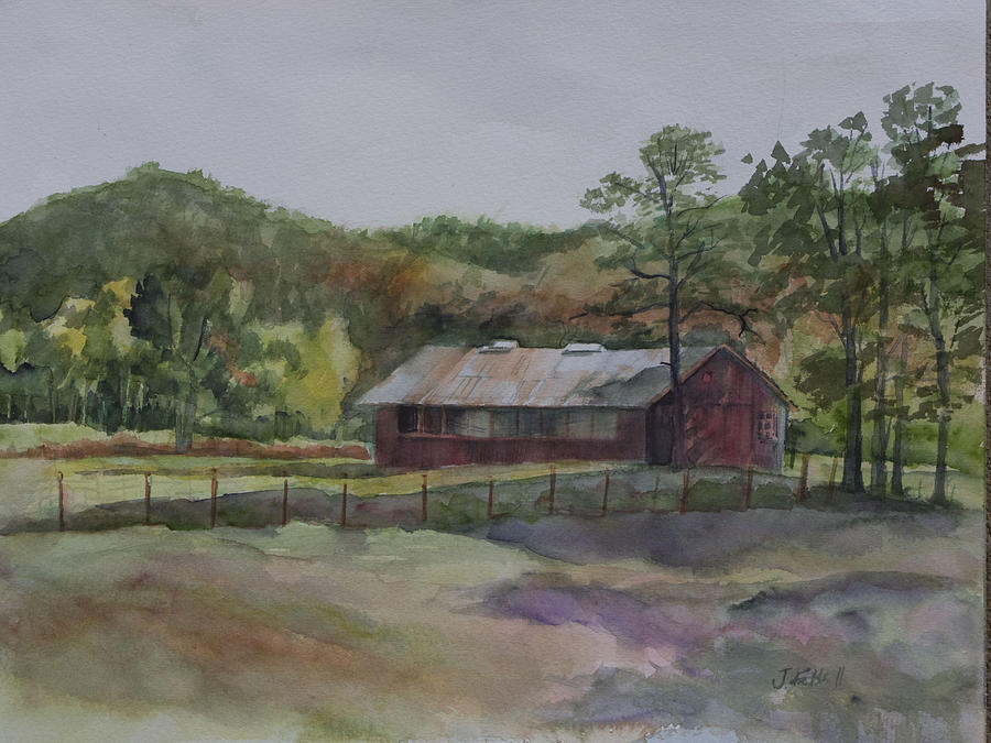 Red Barn Painting - Red Barn by Janet Felts