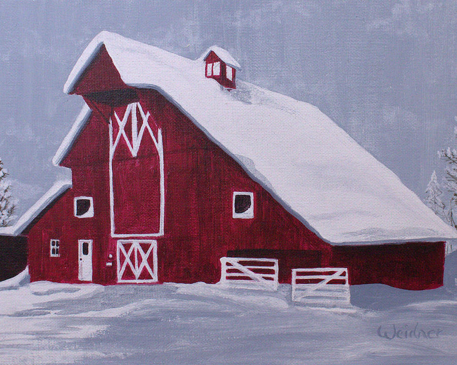 Barn Painting - Red Barn by Kathy Weidner