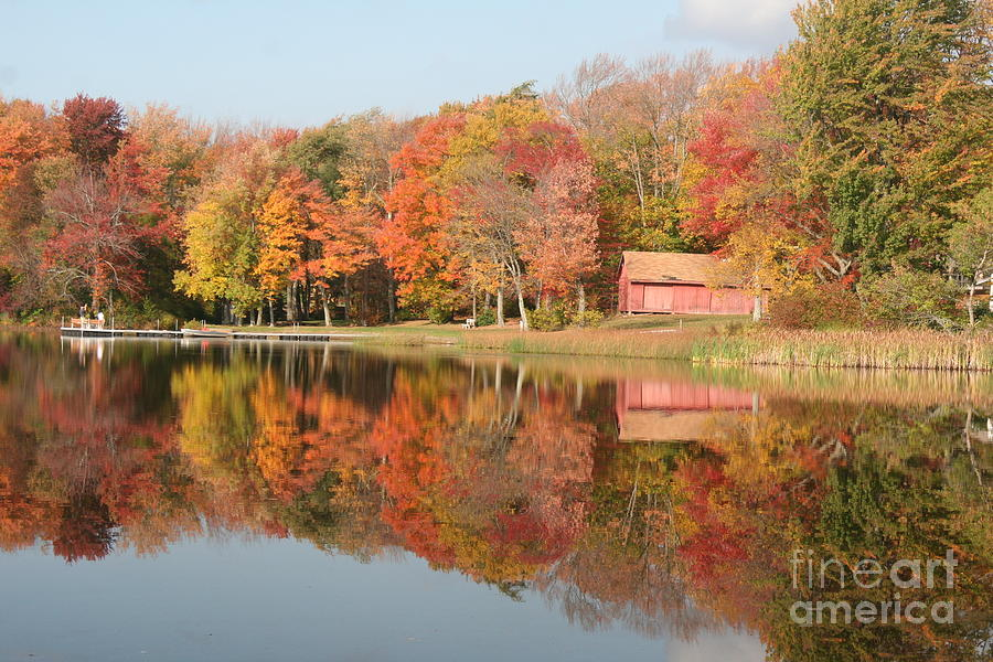 Red Barn Reflection in Fall by Deborah A Andreas