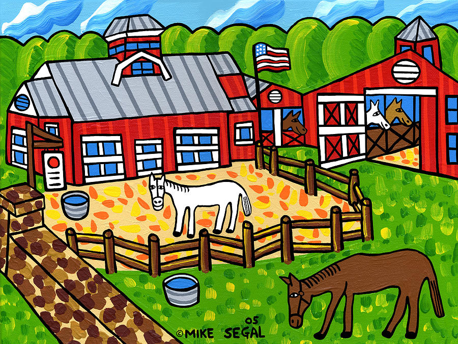 Horse Painting - Red Barn Stable by Mike Segal