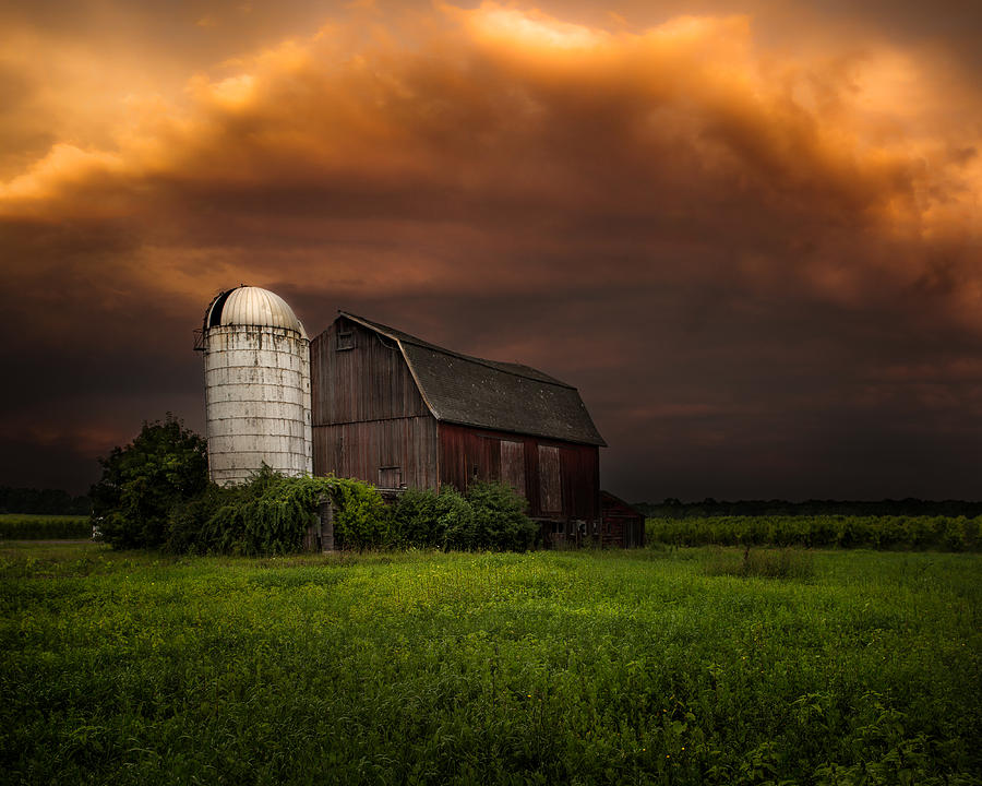 Red Barn Photograph - Red Barn Stormy Sky - Rustic Dreams by Gary Heller
