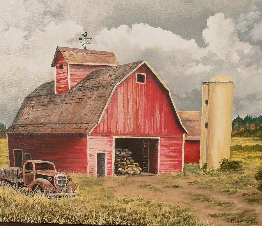 Red Barn With Vintage Truck Painting By Roger Willey
