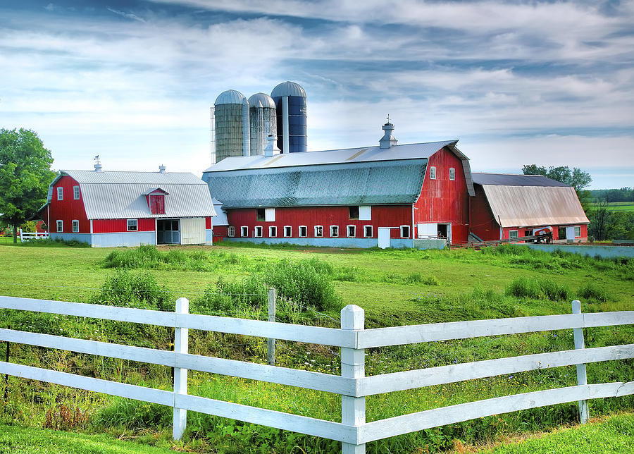 Barn Photograph - Red Barns And White Fence by Steven Ainsworth