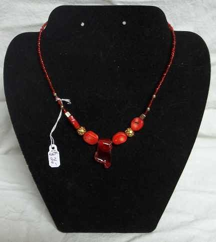 Custom Jewelry Jewelry - Red Bed And Manipulated Stained Glass Necklace by Carolyn Kelly