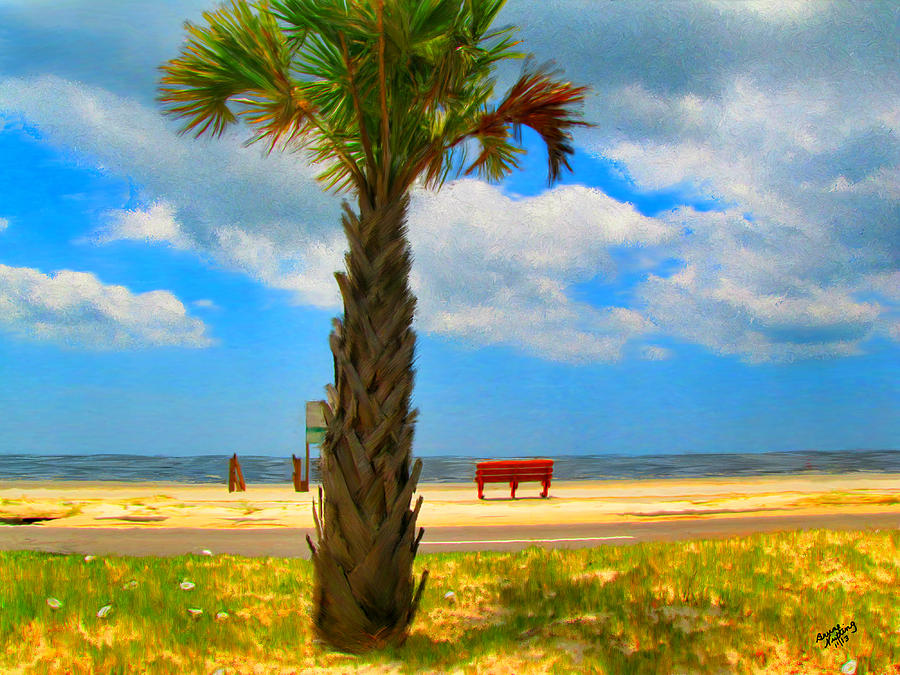 Beach Painting - Red Bench On The Beach by Bruce Nutting