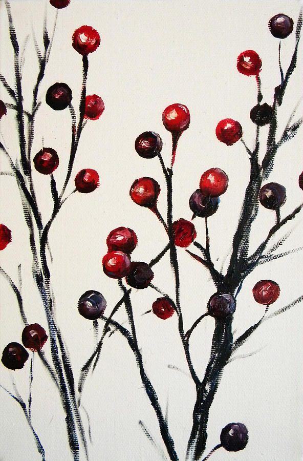 Red Berry Study Painting - Red Berry Study by Rebekah Reed