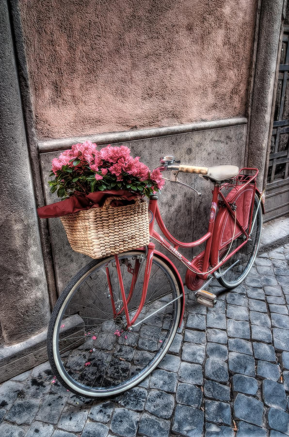 Bike Photograph - Red Bike by Leonardo Marangi