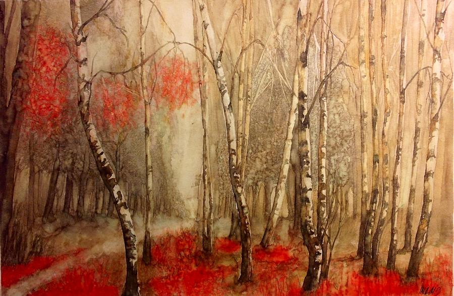 Red Birch Trees Painting By Matthew Mccosco