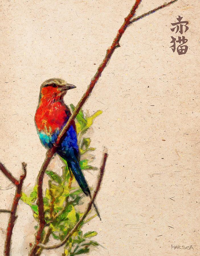 Bird Painting - Red Bird by Marina Likholat