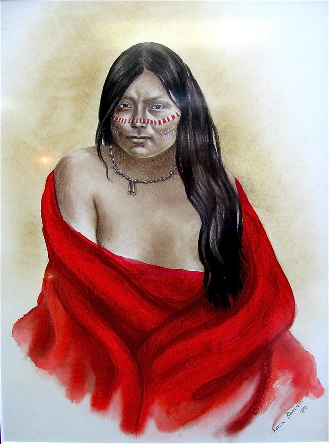 Native American Painting - Red Blanket by Karen Roncari