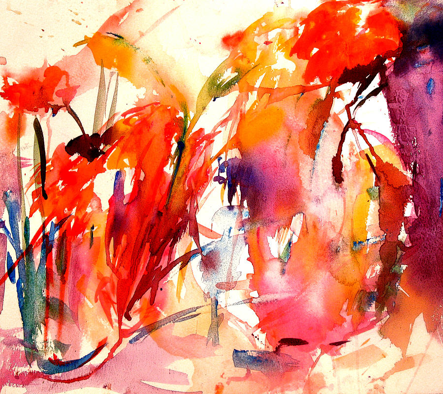 Modern Floral Painting - Red Blooms by Tolere