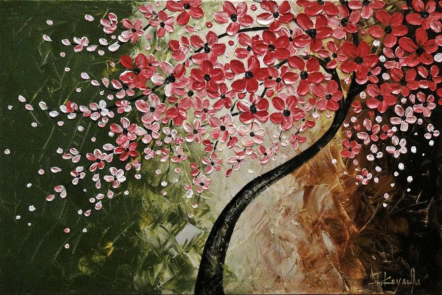 Abstract Painting - Red Blossoms  by Tomoko Koyama