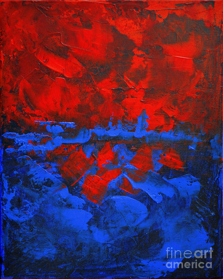 Color Print Painting - Red Blue Abstract Make It Happen By Chakramoon by Belinda Capol