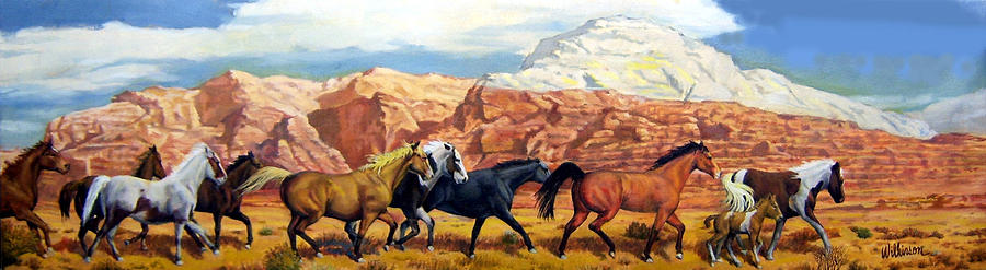 Wild Horses Painting - Red Bluffs by Ronald Wilkinson