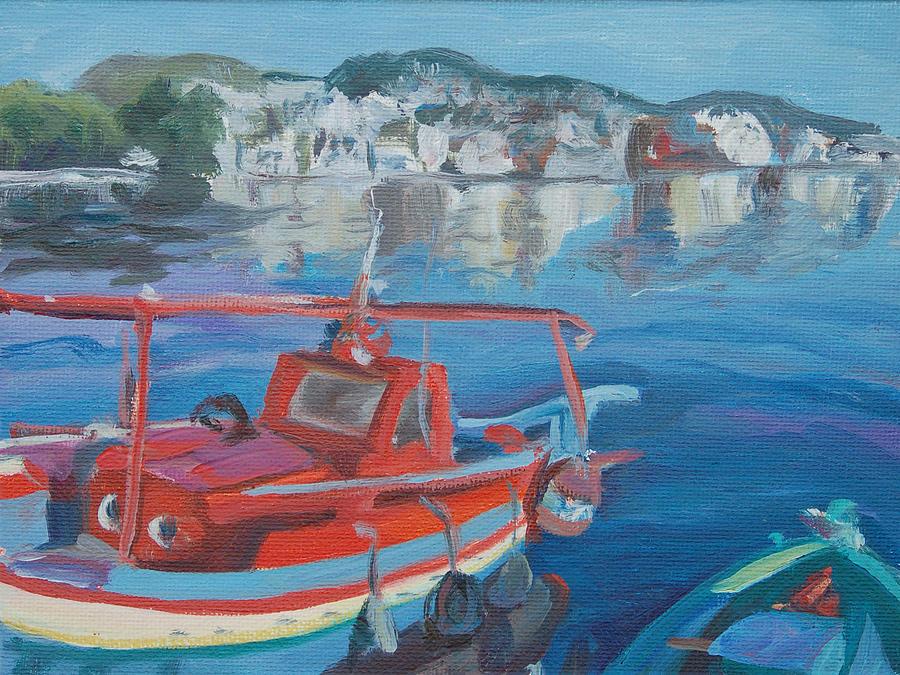 Greece Painting - Red Boat by Christine Lytwynczuk