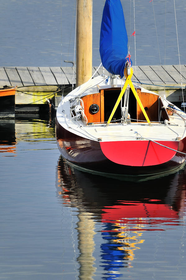 Red Boat Reflections Rockland Maine Photograph by Marianne Campolongo