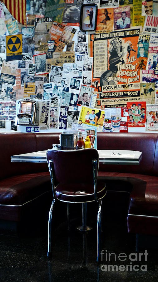 Red Booth Awaits In The Diner Photograph - Red Booth Awaits In The Diner by Nina Prommer