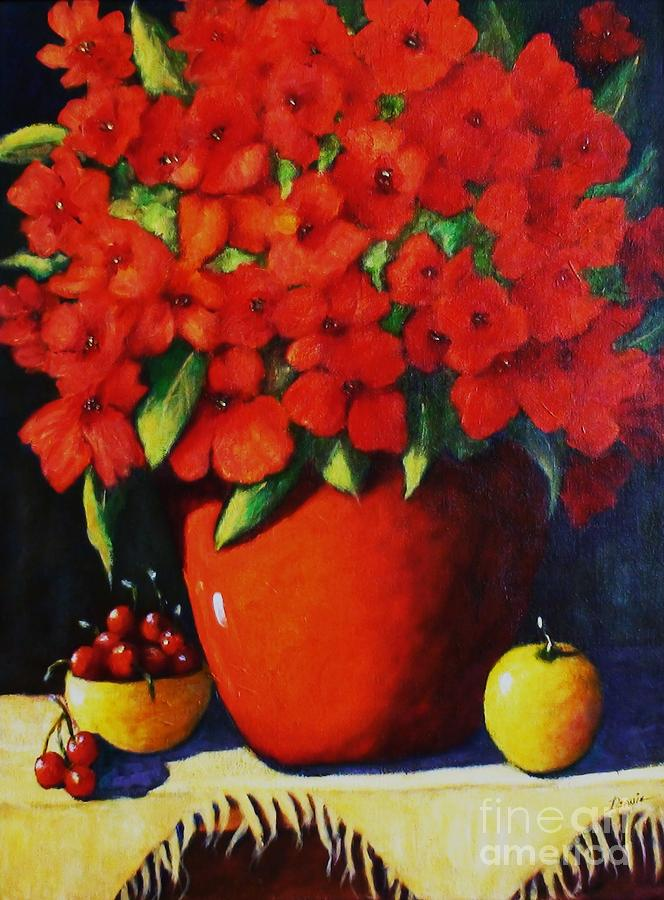 Bouquet Painting - Red Bouquet by Deanie Holbrook