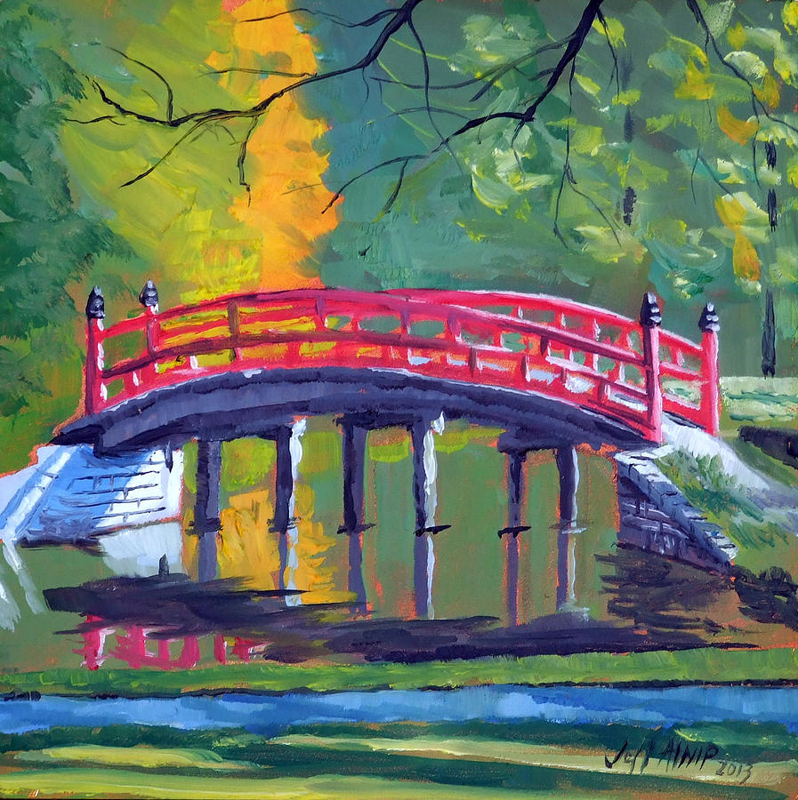 Red Bridge Memphis Botanic Garden Painting By Jeff Atnip