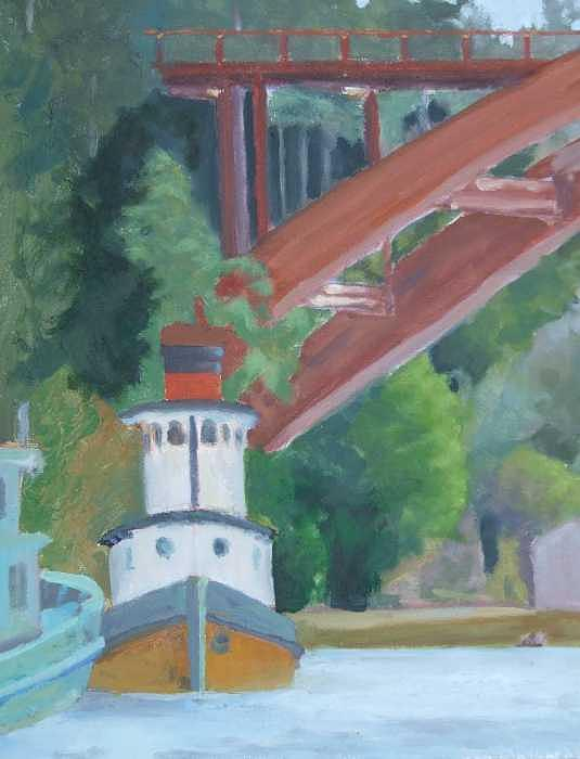 Work In Progress Painting - Red Bridge View LaConner WA by Raymond Kaler