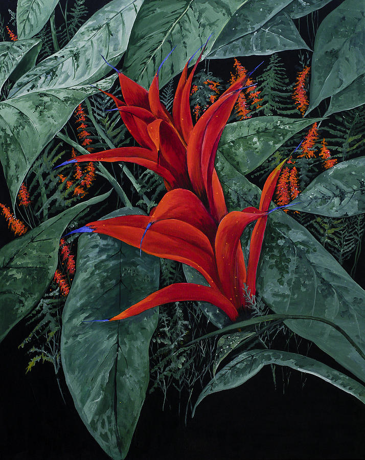 Red Bromeliad Painting