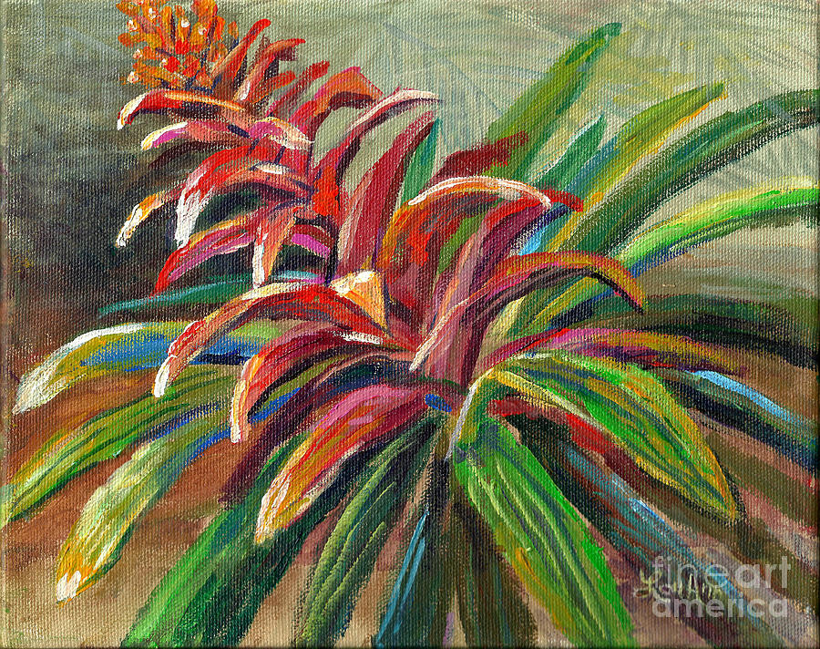 Tropical Flowers Painting - Red Bromiliad by Lou Ann Bagnall