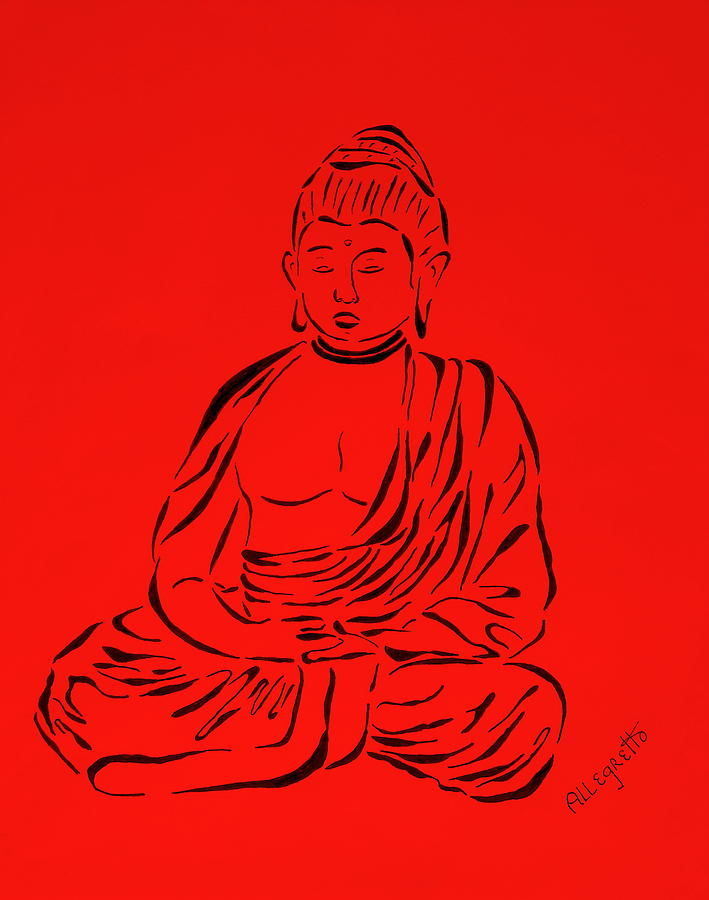 Pamela Allegretto-franz Painting - Red Buddha by Pamela Allegretto