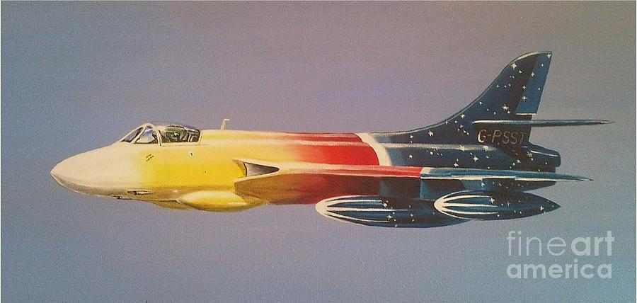 Warbird Painting - Red Bull Hawker Hunter Miss Demeanour by Richard John Holden RA