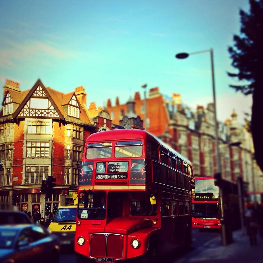 London Photograph - Red Bus On High Street Kensington by Maeve O Connell
