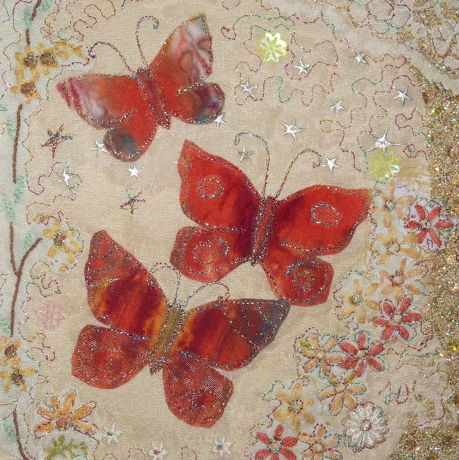 Red Painting - Red Butterflies by Hazel Millington