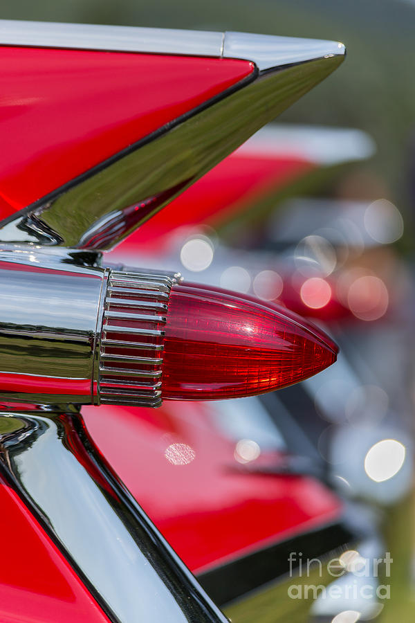 Automobile Photograph - Red Cadillac Fins by Edward Fielding