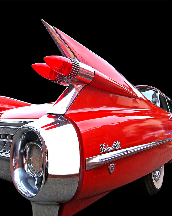 Red Cadillac Sedan De Ville 1959 Tail Fins Photograph By