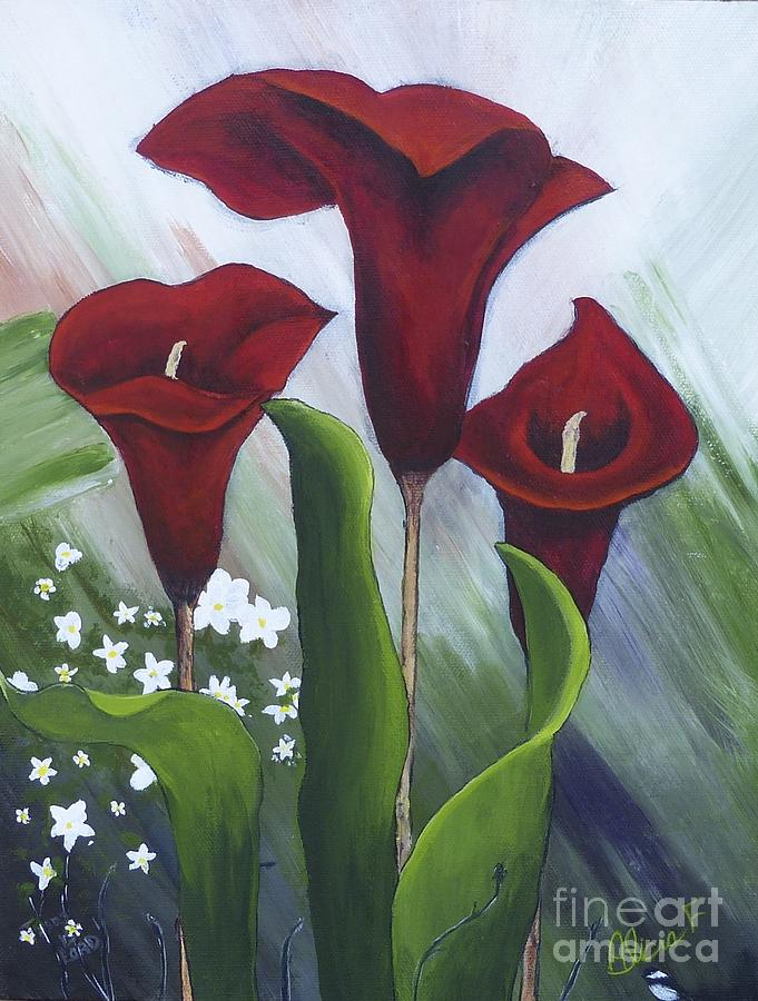 Red Calla Lilies Painting By Alicia Fowler