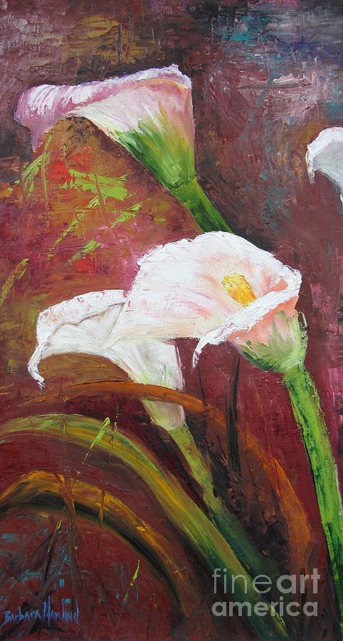 Abstract Painting - Red Calla Lilies by Barbara Haviland