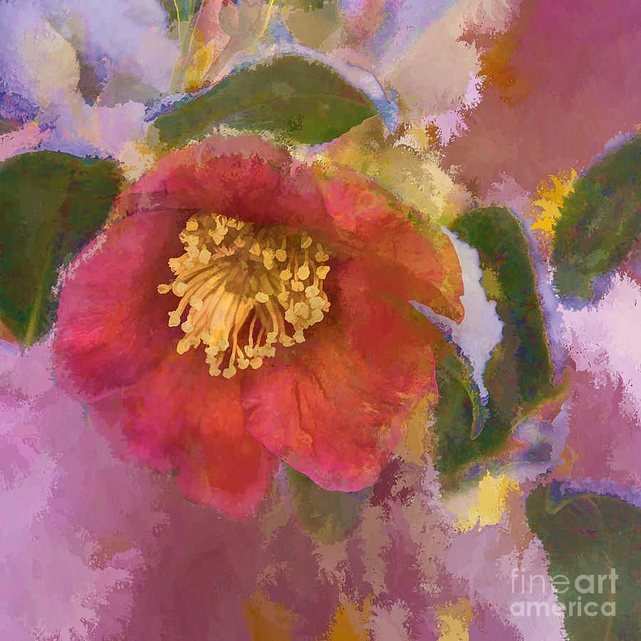 Camelia Photograph - Red Camelia In A Winter Coat by Terry Rowe
