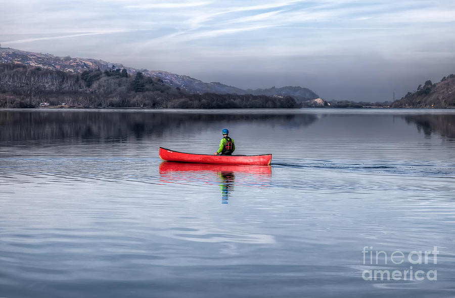 Autumn Photograph - Red Canoe by Adrian Evans
