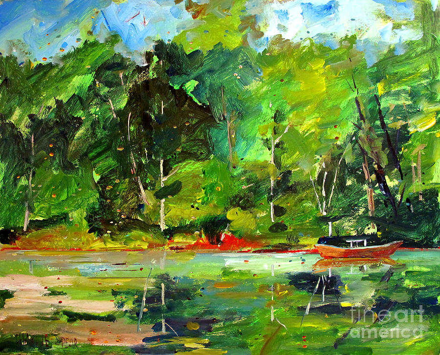 Canoe Painting - Red Canoe I by Charlie Spear
