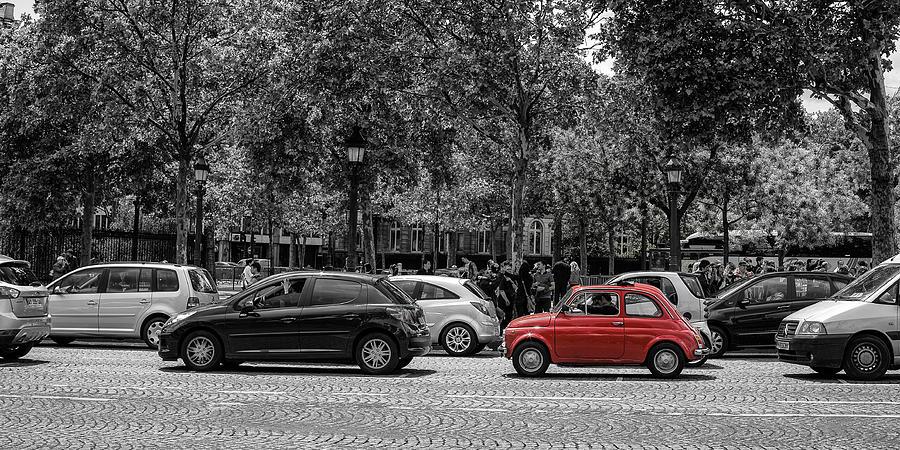 Red Car In Paris Photograph