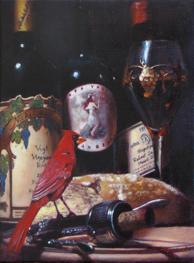 Red Cardinal Painting - Red Cardinal Red Wine Sin by Takayuki Harada
