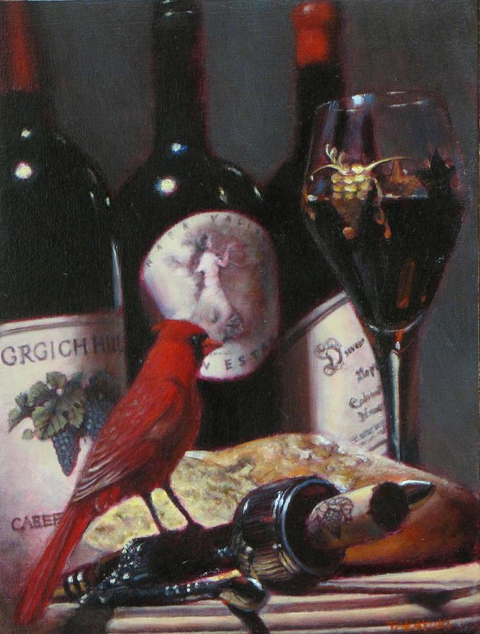 Wine Beverage Painting - Red Cardinal With Red Wine 2 by Takayuki Harada