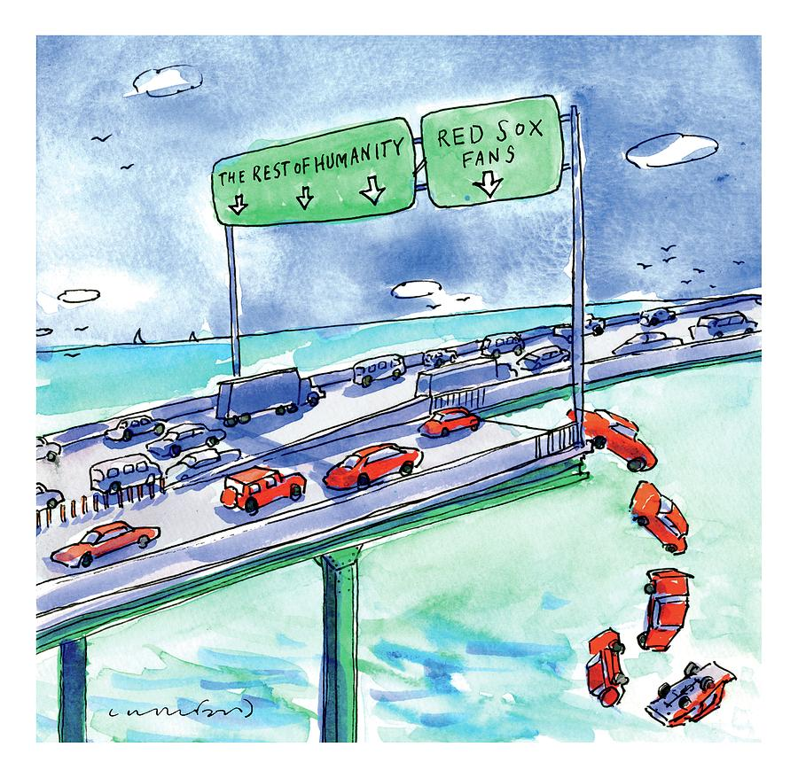Red Cars Drop Off A Bridge Under A Sign That Says Drawing by Michael Crawford