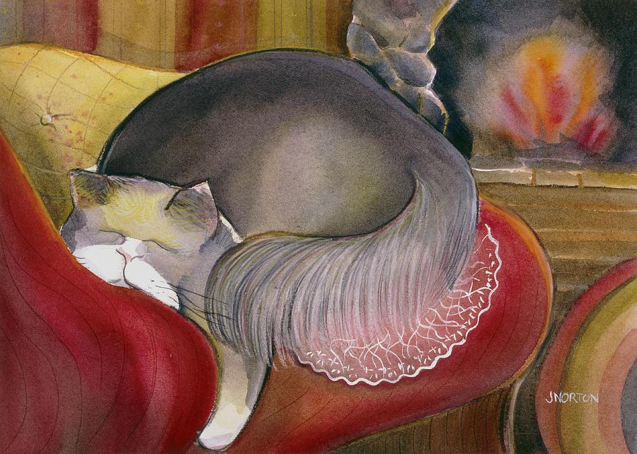 Sleeping Cat Painting - Sleeping Persian Cat On Red Sofa by Jen Norton