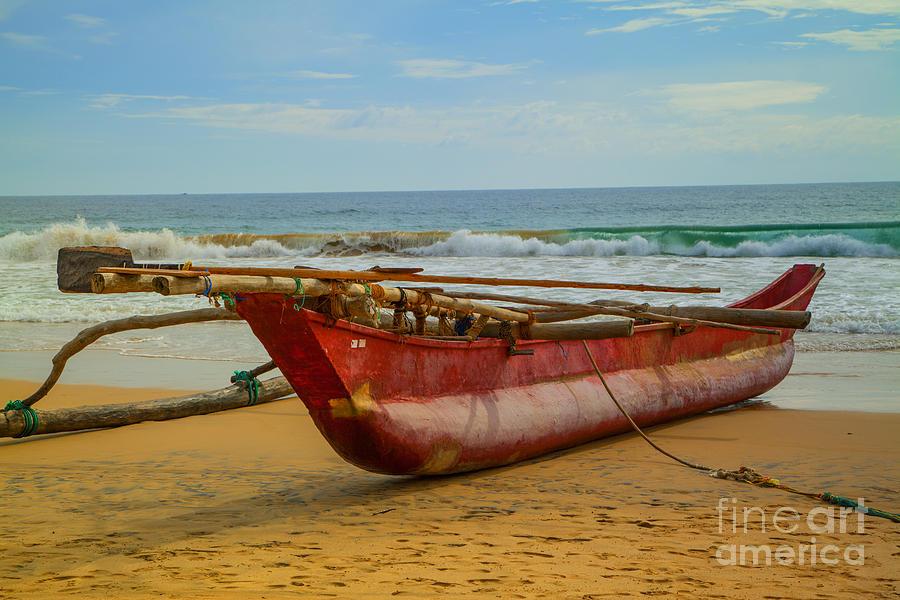 Catamaran Photograph - Red Catamaran At The Hikkaduwa Beach by Regina Koch