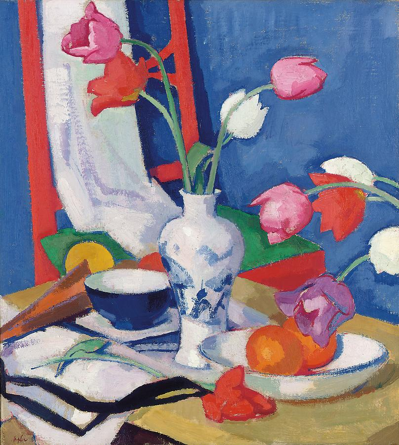 Still Life Painting - Red Chair And Tulips, C.1919 by Samuel John Peploe