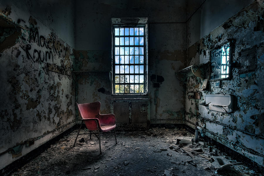 Abandoned Places Photograph - Red Chair - Art Deco Decay - Gary Heller by Gary Heller