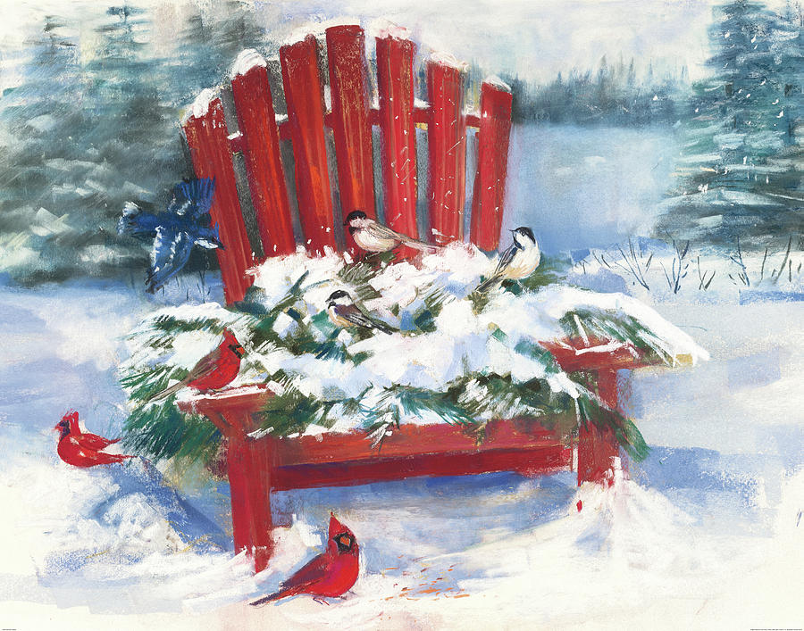 Red Chair In Winter Painting By Carol Rowan