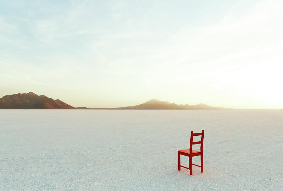 Red Chair On Salt Flats, Facing The Photograph by Andy Ryan