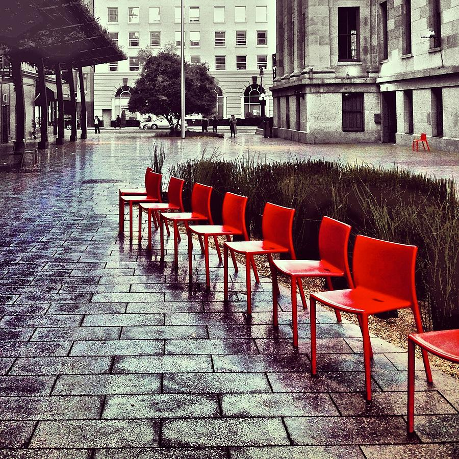 Red Chairs At Mint Plaza Photograph by Julie Gebhardt
