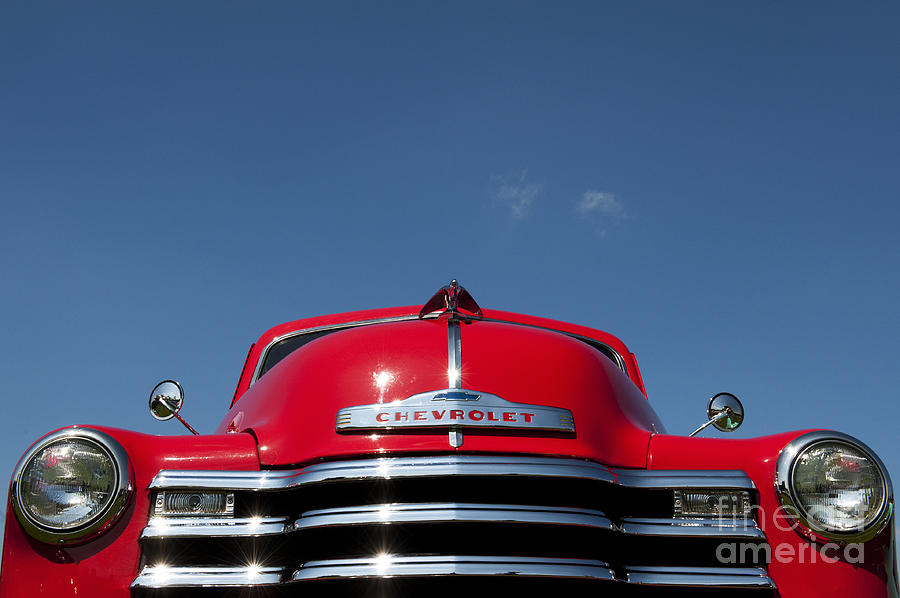 Chevy Photograph - Red Chevrolet 3100 1953 Pickup  by Tim Gainey